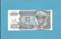 ZAIRE - 5 NOUVEAUX MAKUTA - 24/06/1993 - Pick 48 - Sign. 9  - UNC. - Mobutu - 2 Scans - Zaire