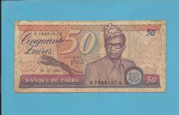 ZAIRE - 50 ZAIRES - 24/06/1985 - Pick 28.b - Sign. 7 - Mobutu - 2 Scans - Zaire
