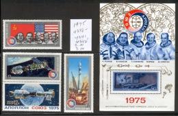 RUSSIA (USSR) 1975 MNH Russian-American Space Cooperation Soyuz-Apollo, Set Of 4 & Souvenir Sheet, Scott No. 4338-4342 - Russia & USSR