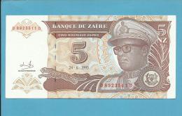 ZAIRE - 5 NOUVEAUX ZAIRES - 24/06/1993 - Pick 53.a - UNC. - Sign. 9 - Mobutu - 2 Scans - Zaïre