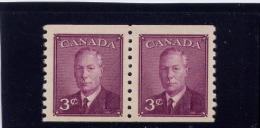 CANADA. 1949, # 296, PAIR OF COIL, KGV1:   POSTES-POSTAGE OMITTED  ,   MNH - 1937-1952 Règne De George VI