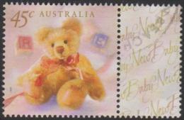 AUSTRALIA - USED 1999 45c Greetings - Teddy Bear With Tab - Gebruikt