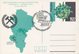 J0635 - Poland (1974) Postal stationery; theme: Coal mining; postmark: Zabrze 1: Stamp exhibition SOCFILEX