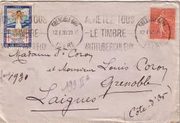 SEMEUSE - 50c LIGNEE DE GRENOBLE-GARE ISERE LE 12-1-1930 - VIGNETTE ANTITUBERCULLEUX DE 1929. - Commemorative Labels