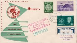 """Israel-Switzerland FFC / First Flight Cover 1959-""""Britannia""""-Registered - Airplanes"""