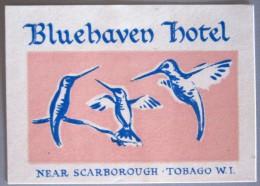 ISLAND HOTEL MOTEL PENSION HOUSE BLUE HAVEN TOBAGO MINI STICKER DECAL LUGGAGE LABEL ETIQUETTE KOFFERAUFKLEBER - Hotel Labels