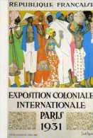 75 PARIS Exposition Colonale 1931, Affiche De La Neziere En Carte Postale Bibliotheque Forney - Exhibitions