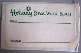 ISLAND HOTEL MOTEL PENSION HOUSE INN HAWAII HOLIDAY WAIKIKI USA STICKER DECAL LUGGAGE LABEL ETIQUETTE KOFFERAUFKLEBER - Hotel Labels