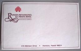 ISLAND HOTEL MOTEL PENSION HOUSE INN HAWAII RAMADA HONOLULU USA STICKER DECAL LUGGAGE LABEL ETIQUETTE KOFFERAUFKLEBER - Hotel Labels