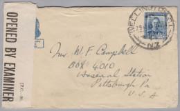 OZ Neuseeland 1943-12-29 Wellington Zensur Brief Nach Pittsburgh USA - 1907-1947 Dominion