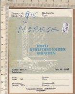 PO1409D# CARTONCINO ALBERGHI - HOTEL DEUTSCHER KAISER MUNCHEN - Adesivi Di Alberghi