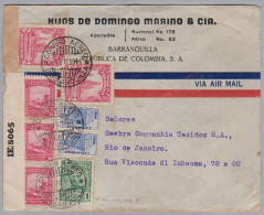 Kolumbien 1944-07-04 Barranquilla Zensur Flugpost Brief Nach Rio - Colombie