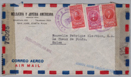 Costa Rica 1945-07-30 San Jose Doppel Zensur  Brief Nach La Chaux De Fonds - Costa Rica