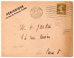 1c Bistre Olive Semeuse (n° 277A) Seul Sur Lettre Du 21 XI 1936 - Mention Périodique, Rabat Collé Par Le Temps - 1921-1960: Moderne