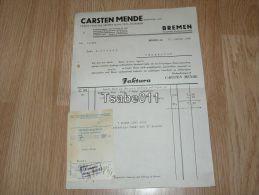 Carsten Mende Bremen 1938 Osnabrück Zigarren Rechnung Germany - Germania