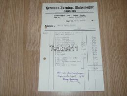 Hermann Berning Malermeister Lingen Ems Glas Farben Tapeten 1937 Rechnung Germany - Germania