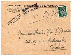 Pétain Sur Lettre Recommandée Provisoire De 1944 - CaD 'Rennes Gare Ille Et Vilaine' - Postmark Collection (Covers)
