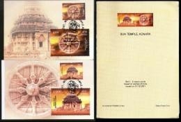 India 2001 Sun Temple, Konark Wheel Hindu Mythology Max Cards Presentation Pack # 9333 - Hinduism