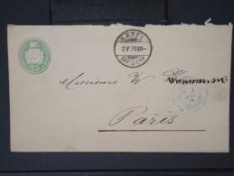 """FRANCE- Marque D Entrée  Cad En Bleu """" Suisse   3  Belfort """" En 1879 Sur Entier Suisse Pour Paris   A Voir  Lot P4276 - Poststempel (Briefe)"""