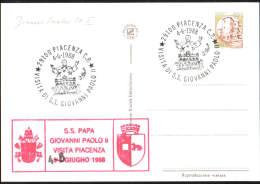 4-6-1988 ANNULLO SPECIALE VISITA DI S.S. GIOVANNI PAOLO II 29100 PIACENZA SU CARTOLINA