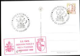 5-6-1988 ANNULLO SPECIALE VISITA DI S.S. GIOVANNI PAOLO II 29100 PIACENZA SU CARTOLINA