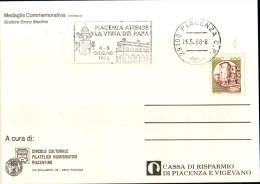 1988 ANNULLO TIMBRO MECCANICO A TARGHETTA PIACENZA ATTENDE LA VISITA DEL PAPA 29100 PIACENZA CARTOLINA