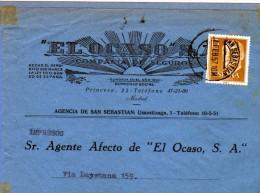 2652 Frontal  Comercial Ocaso 1957 San Sebastian Impreso - 1951-60 Storia Postale