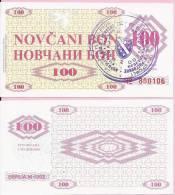 MONEY COUPON (NOVČANI BON) 100 DINARA, - UNC, Handstamp Sarajevo, Seria M 1992., Bosnia And Herzegovina - Bosnia And Herzegovina