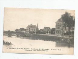 Cp , 56 , PONTIVY , Le Pont Du Quartier Et Un Coin De La Place Nationale , La POSTE , écrite 1920 - Pontivy