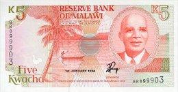 Malawi 5 Kwacha 1994 Pick 24b UNC - Malawi