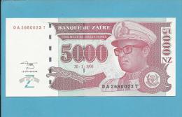 ZAIRE - 5000 NOUVEAUX ZAIRES - 30/01/1995 - Pick 69 - UNC. - Sign. 11 - Mobutu - 2 Scans - Zaire