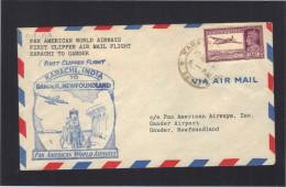 Pan American First Clipper Air Mail Flight KARACHI - GANDER ( Terre Neuve ).1947. Muller 175. - Airplanes