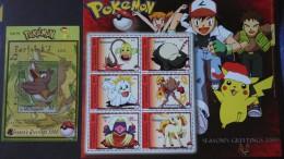 Pokémon Saison 2000 - Timbres Numéros 967/72 + Bloc82 état ** - Micronésie