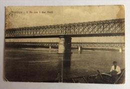 Piacenza il Po con i due Ponti viaggiata del 1921 f.p. N.B. La cartolina � stata piegata al centro