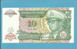 ZAIRE - 10 NOUVEAUX MAKUTA - 24/06/1993 - Pick 49 - Sign. 9  - UNC. - Mobutu - 2 Scans - Zaire
