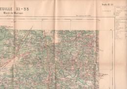 Carte D'état Major. - Mont-de-Marsan. - Feuille XI-33 (couleur). - Carte à 1/ 100.000. - Cartes Topographiques