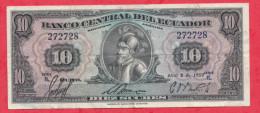 Equateur 10 Sucre 08/04/1959 TRES RARE (Inconnu Sur World Paper Money Et Delcampe) ERREUR DE  DATE Etat - Ecuador