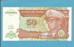 ZAIRE - 50 NOUVEAUX MAKUTA - 24/06/1993 - Pick 51 - REPLACEMENT  SUBSTITUIÇÃO - Sign. 9  - UNC. - Mobutu - 2 Scans - Zaïre