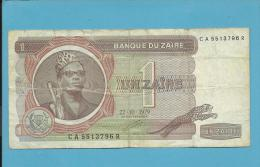 ZAIRE - 1 ZAIRE - 22/10/1979 - Pick 19.a - Sign. 5 - Mobutu - 2 Scans - Zaire