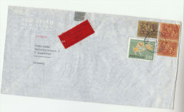 1966 EXPRESS Air Mail PORTUGAL Multi Stamps COVER  To GERMANY Express Label - 1910-... Republic