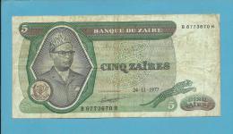 ZAIRE - 5 ZAIRES - 24/11/1977 - Pick 21.b - Sign. 4 - Mobutu - 2 Scans - Zaire