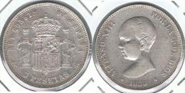 ESPAÑA ALFONSO XIII 5 PESETAS 1888 MP M  PLATA SILVER. B - [ 1] …-1931 : Reino