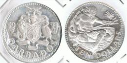 BARBADOS 10 DOLLARS 1974 NEPTUNO PLATA SILVER - Bolivia