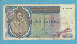 ZAIRE - 10 ZAIRES - 22/06/1974 - Pick 23.a - Sign. 3 - Mobutu - 2 Scans - Zaire