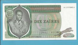 ZAIRE - 10 ZAIRES - 04/01/1981 - Pick 24.b -  AUNC. - Sign. 3 - Mobutu - 2 Scans - Zaire