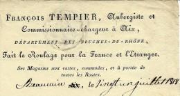 RARE LETTRE DE VOITURE ROULAGE FRANCOIS TEMPLIER AUBERGISTE COMMISSIONNAIRE AIX 1818 T.B.E - France