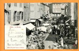 MN6-01 Boen Boën-sur-Lignon  Le Marché. TRES ANIME.  Précurseur. Circulé, Date Illisible. - Otros Municipios