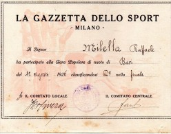 1926 LA GAZZETTA DELLO SPORT MILANO - Nuoto