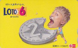 Carte Prépayée Japon - JEU LOTO - PIECE DE MONNAIE  - MONEY COIN  Japan LOTTO Tosho Card - MÜNZE - 90 - Timbres & Monnaies