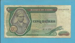 ZAIRE - 5 ZAIRES - 30/11/1974 - Pick 21.a - Sign. 3 - Mobutu - 2 Scans - Zaire